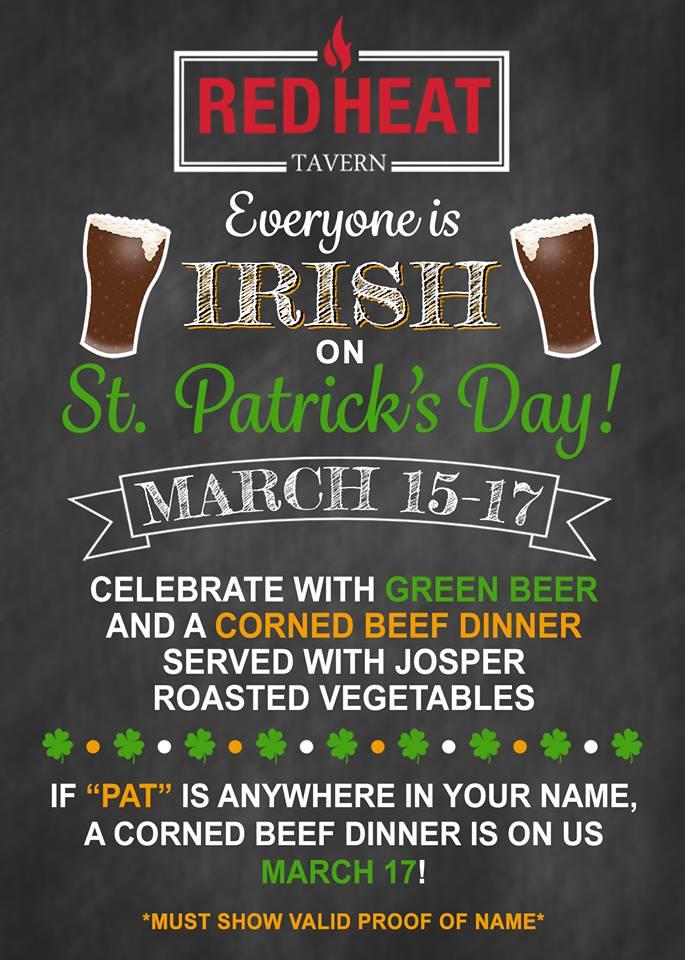 Red Heat Tavern's St. Patrick's Day Flyer
