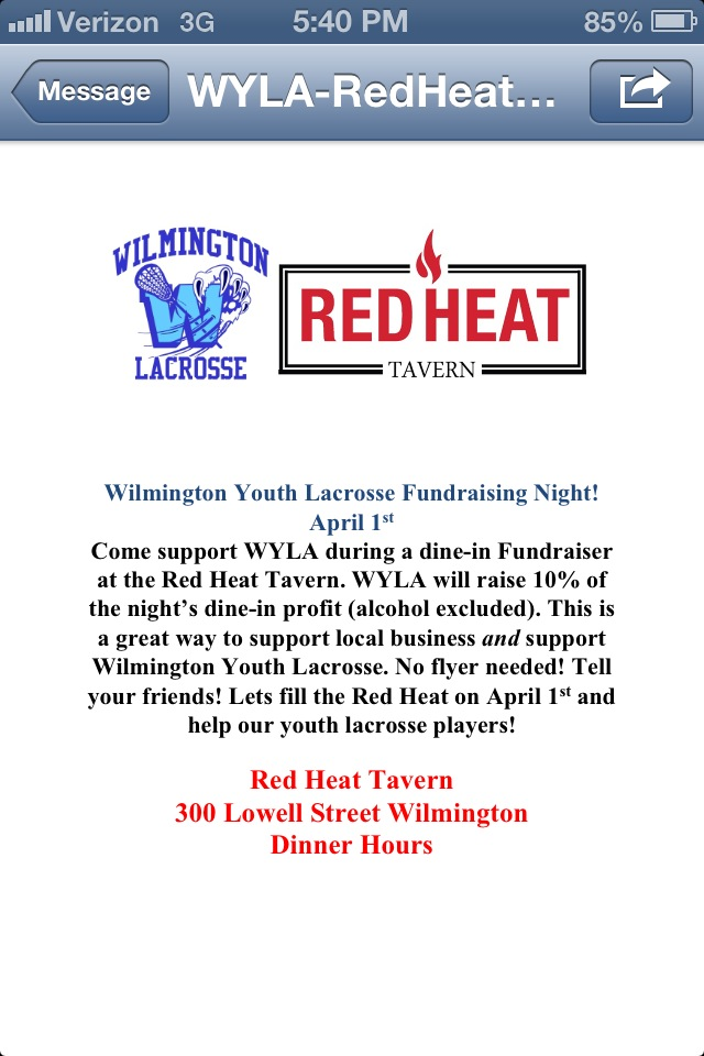 WYSA-Red Heat Tavern Fundraiser Announcement (from WYSA Facebook page)