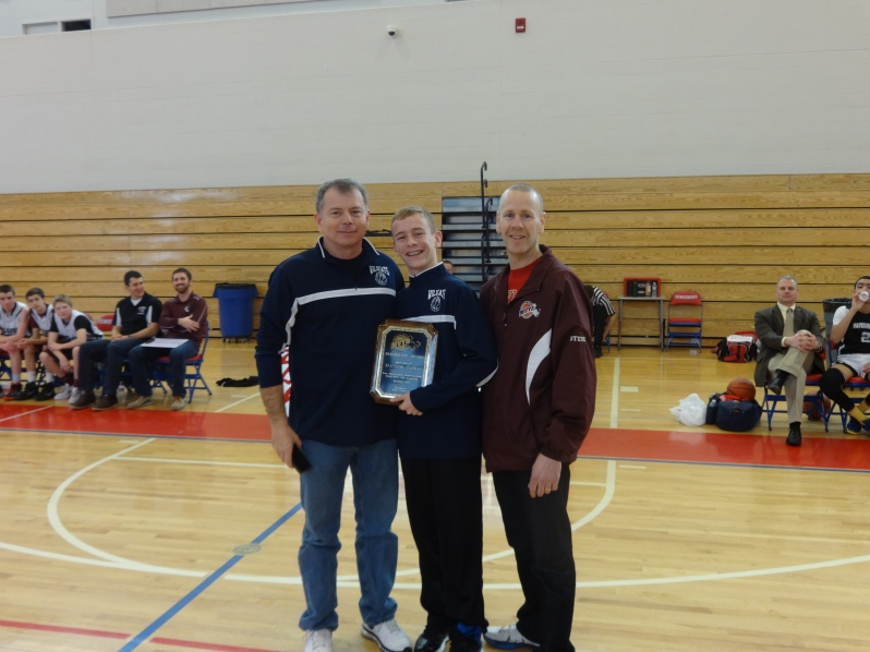Matthew Thomas - of Wilmington - receiving the Merrimack Valley Youth Basketball's Sportsmanship Award.