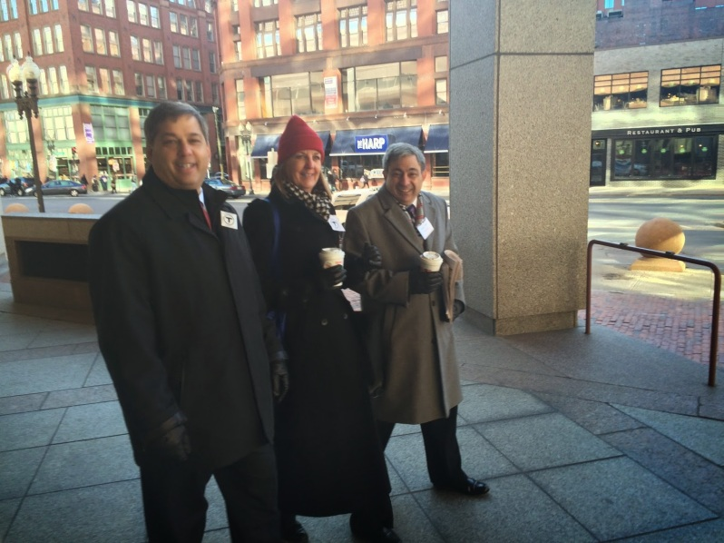Senator Bruce Tarr, Senator Joan Lovely, Representative Ted Speliotis take the MBTA to the State House and speak to commuters.