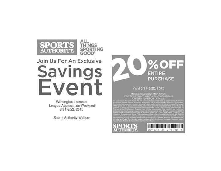 20% Off Coupon For Wilmington Youth Lacrosse Families At Sports Authority This Weekend