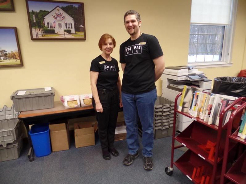 Circulation Librarian Linda and Tech Librarian Brad