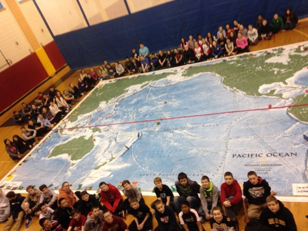 Wilmington Middle School Students Experience Giant Map (photo from WMS)