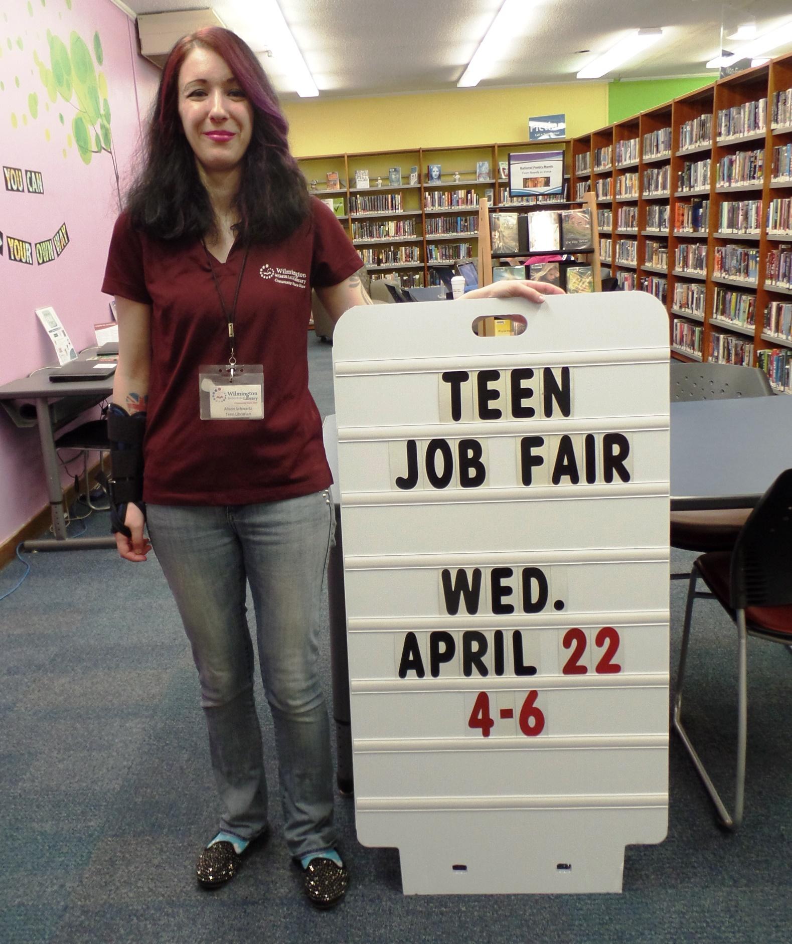 teen librarian alison schwartz promoting the librarys teen job fair