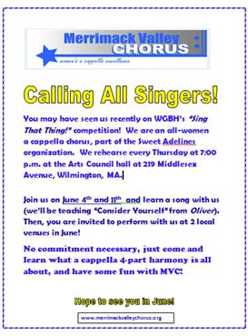 Merrimack Valley Chorus Flyer