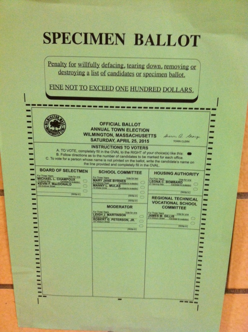 Wilmington Town Election Sample Ballot