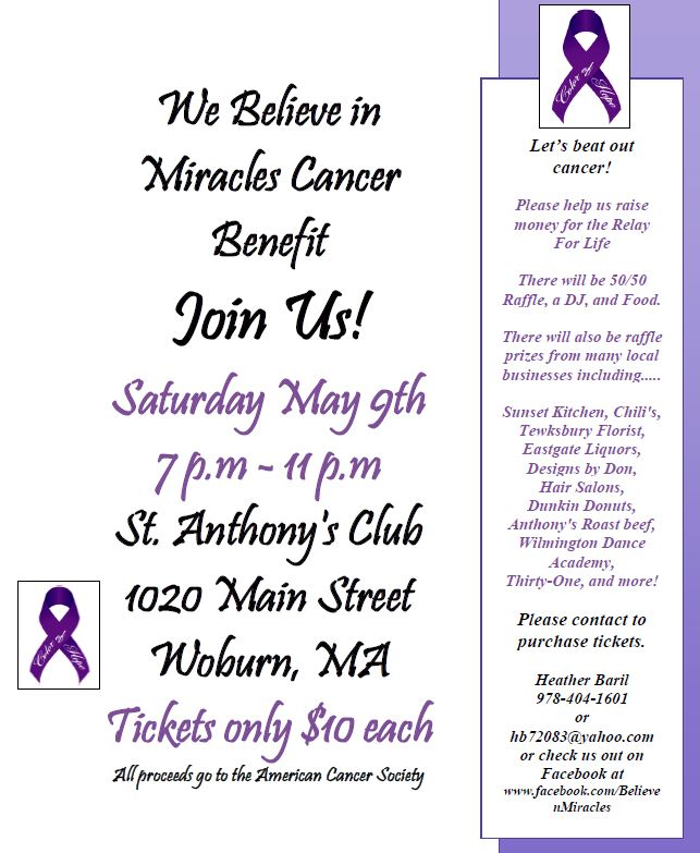 We Believe In Miracles -- Cancer Benefit