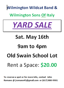 Flyer For Wilmington Band Parents & Wilmington Sons Of Italy Yard Sale