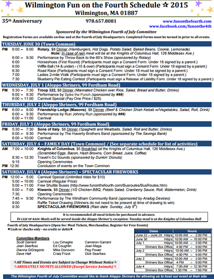 Fun on the 4th 2015 Schedule