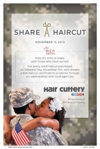 This Veterans Day, join Hair Cuttery in recognizing and giving back to former service men and women through its Share-A-Haircut program. (PRNewsFoto/Hair Cuttery)