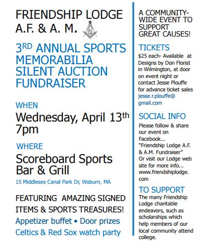 Wilmington Gives Friendship Lodge To Hold Sports Memorabilia Silent Auction Fundraiser Wilmington Apple