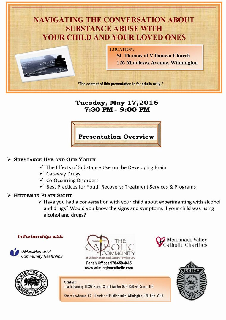 How To Start The Conversation About Drug Use >> REMINDER: Substance Abuse Prevention Talk For Wilmington