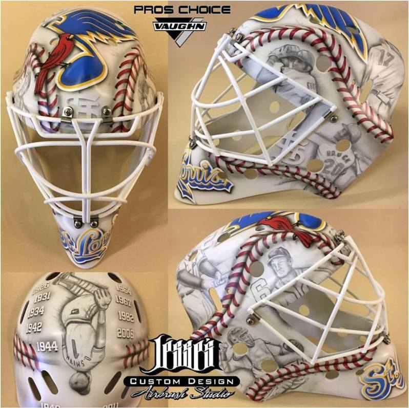 PHOTO  Wilmington s Jesse Acciacca Designs St. Louis Blues Goalie Mask For Winter  Classic 3838530bf