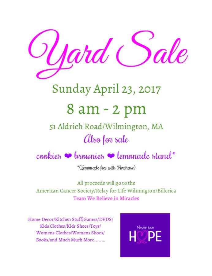 Wilmington Relay For Life Yard Sale