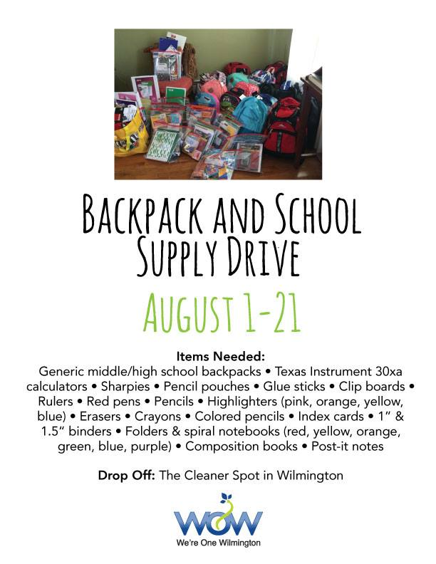 WOW Backpack and School Supply Drive