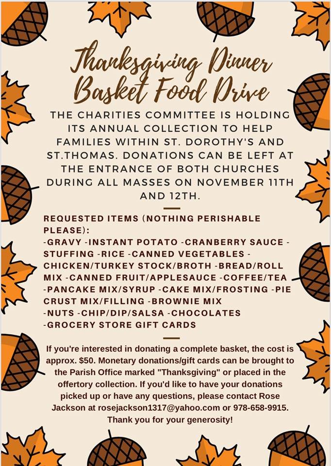 Thanksgiving Dinner Basket Food Drive