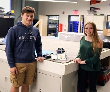 Logan Salvi (Billerica) and Jamie Quintiliani ( Tewksbury) in the new Shawsheen Tech PLTW Lab