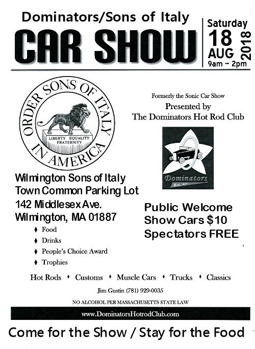 Wilmington Sons Of Italy Dominators Nd Annual Car Show Set For - Wilmington car show