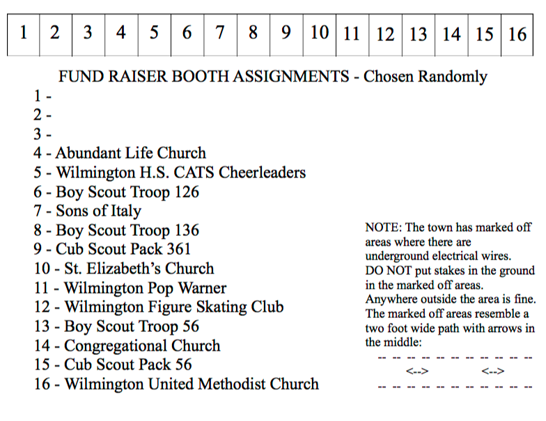 Fun On The Fourth Fundraiser Booth Assignments