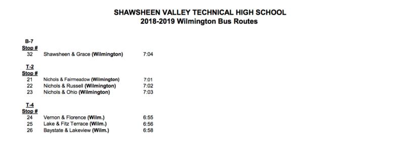 Shawsheen Tech School Bus Routes #2