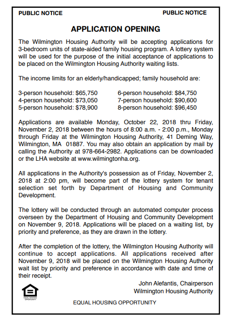 Application Opening Wilmington Housing Authority