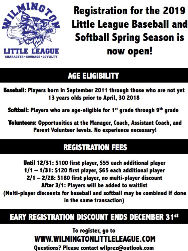 Wilmington Little League Registration
