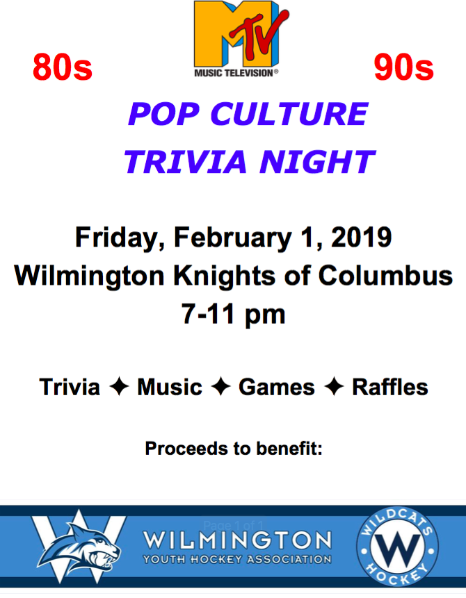 Wilmington Youth Hockey Pop Culture Trivia