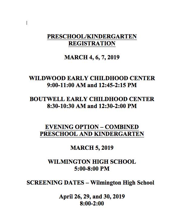 K & PreK Registration Dates