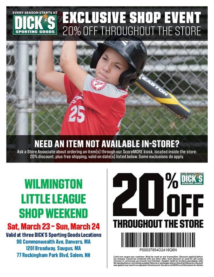 Wilmington Little League Dick's Coupon
