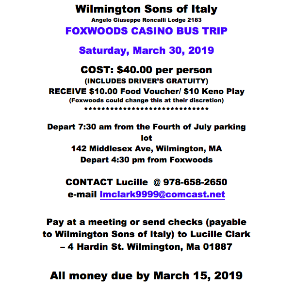 Wilmington Sons of Italy Casino Trip