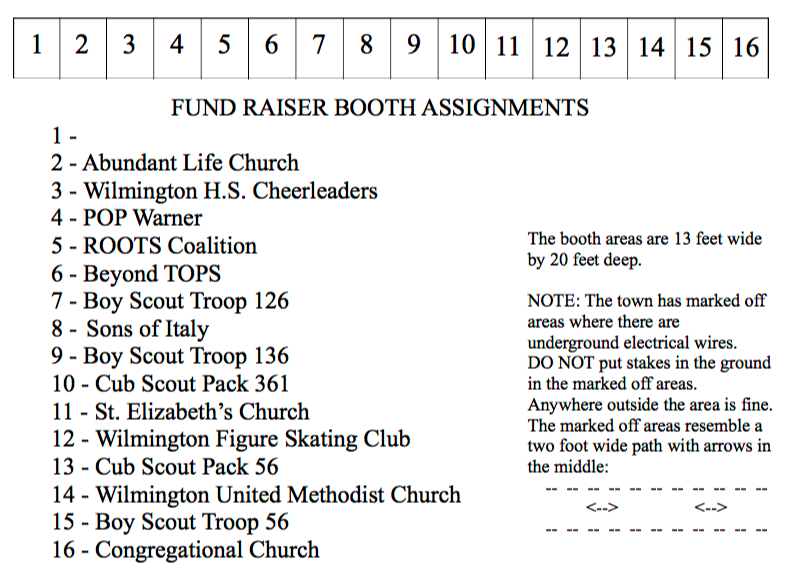 Fundraiser Booth Assignments
