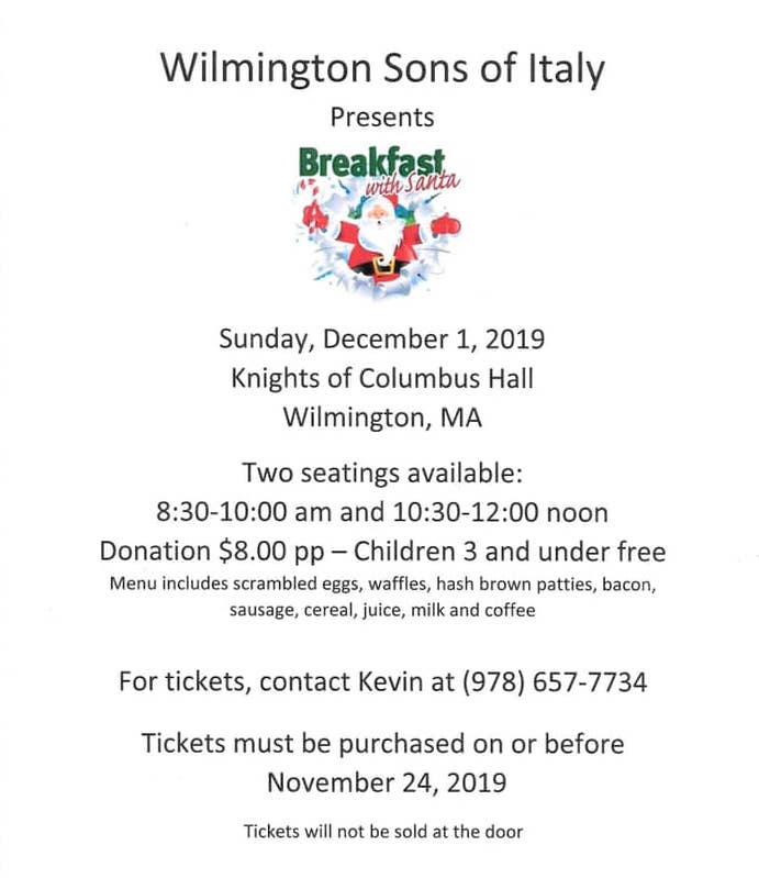 Wilmington Sons of Italy Breakfast with Santa