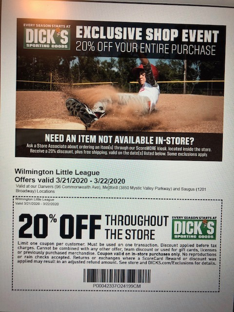 WLL Dick's Coupon