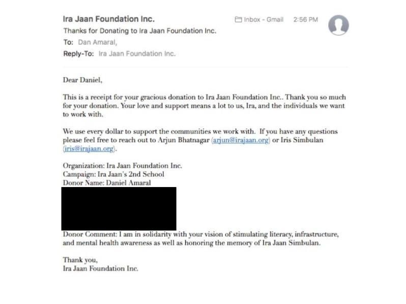 Ira Jaan Donation