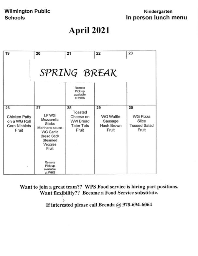 Wilmington's April 2021 School Breakfast & Lunch Calendars ...