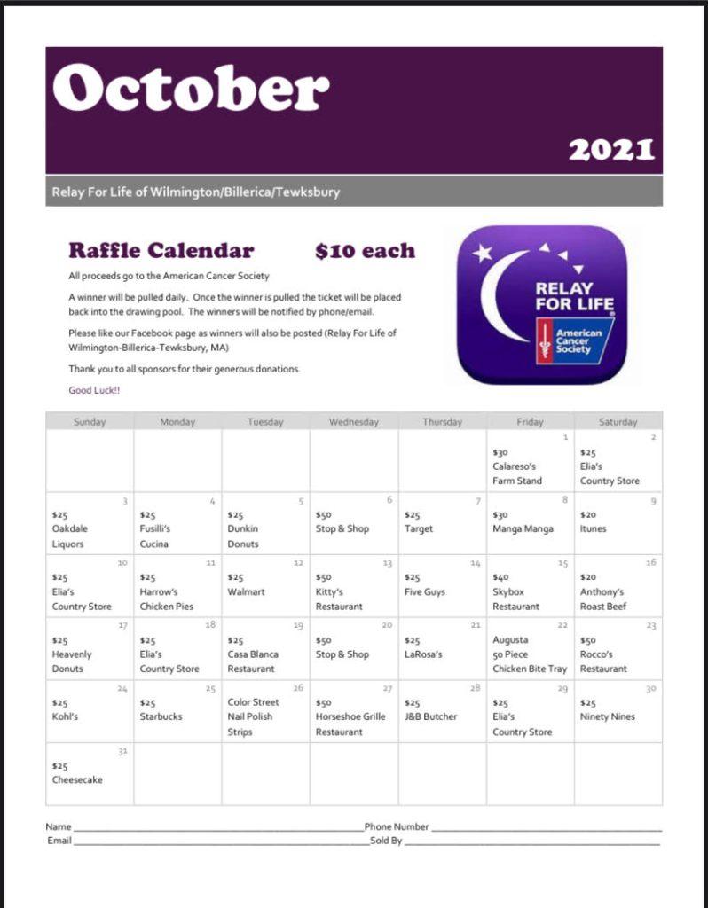 Relay For Life Calendar